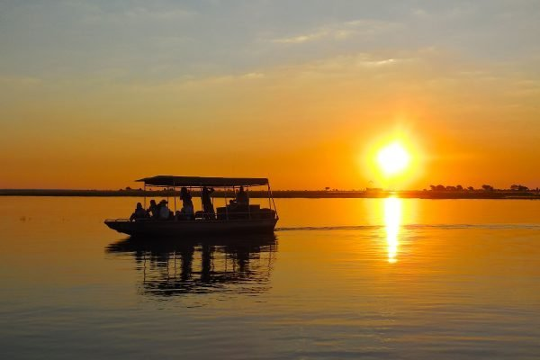 chobe boat cruise bij zonsondergang