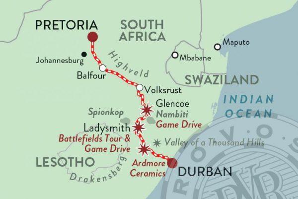 kaart Rovos luxe treinreis Zuid-Afrika Durban Pretoria