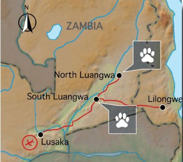 kaart van route kampeerreis malawi zambia