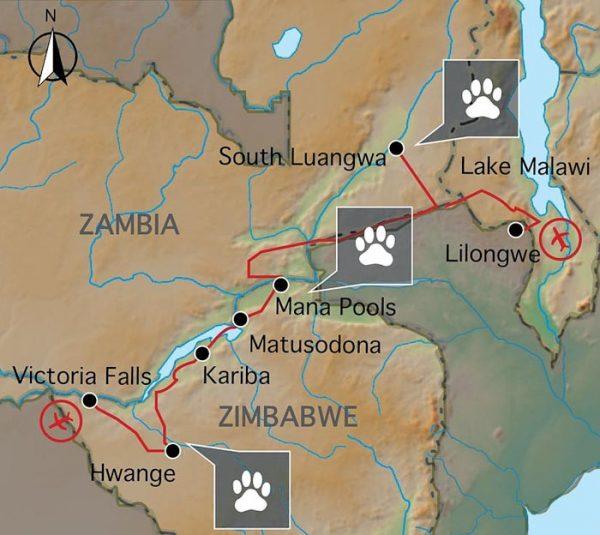 kaart van de kampeerreis in zambia malawi en zimbabwe