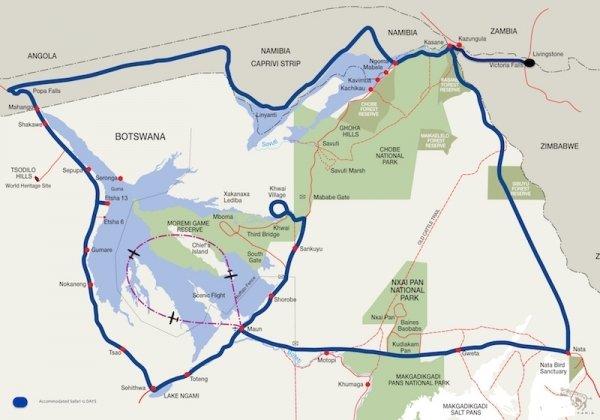 Kaart Botswana groeps safari BWAS