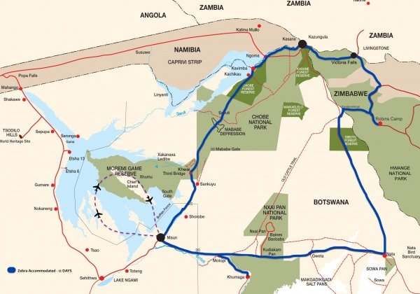 Kaart Botswana groeps safari BWAZ