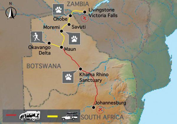 kaartje van de route voor de kampeerreis wild botswana